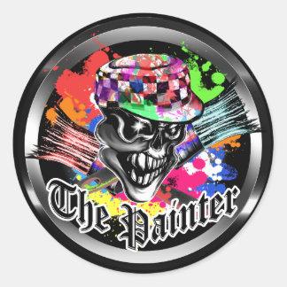Painter Skull: The Painter Round Sticker