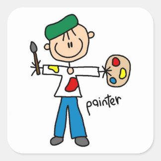 Painter Stick Figure Square Sticker