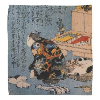 Painter who likes Cats, Utagawa Kuniyoshi Bandana