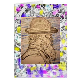 painter with hat drip greeting card