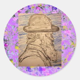 painter with hat drip round sticker