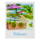 Painterly Bahamas Summer Vacation  Beach Scene Poster