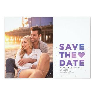 Painterly Confetti Modern Photo Save the Date 13 Cm X 18 Cm Invitation Card
