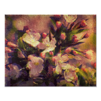 Painterly Image of Crabapple Blossom Poster