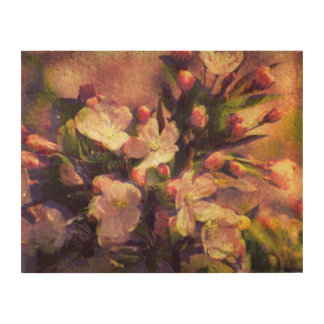 Painterly Image of Crabapple Blossom Wood Wall Art