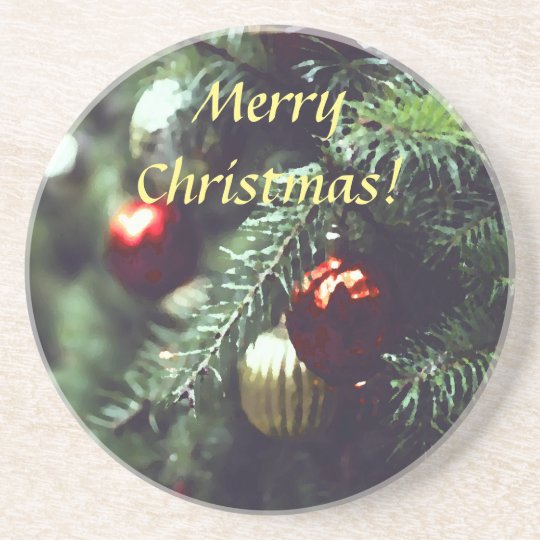 Painterly Merry Christmas Tree with Red Ornaments Coaster