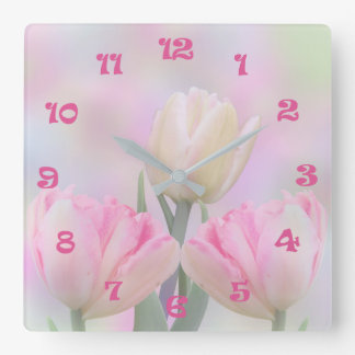 Painterly pastel tulips square wall clock