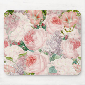 Painterly Retro Roses Lilacs Flower Spring Pattern Mouse Mat