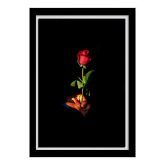 Painterly Single Rose Poster
