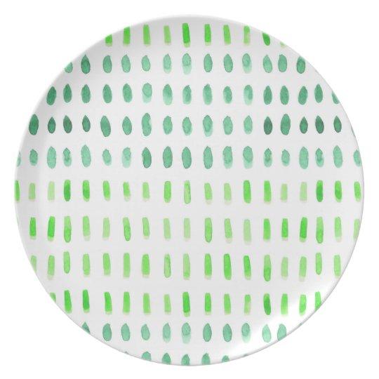 Painterly Spots DashesGreen & White Plate