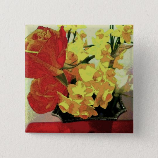 Painterly Spring Flowers Tender Button