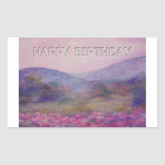 painterly summer nocturne birthday rectangular sticker