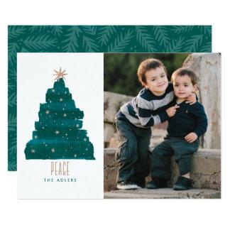 Painterly Tree Christmas Photo Card 13 Cm X 18 Cm Invitation Card