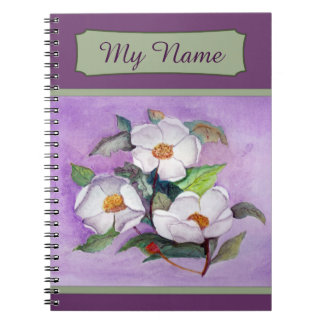 Painterly White Southern Magnolias on Lavender Notebooks