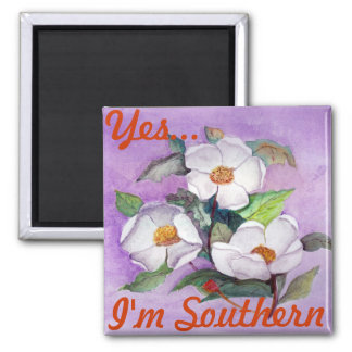 Painterly White Southern Magnolias on Lavender Square Magnet