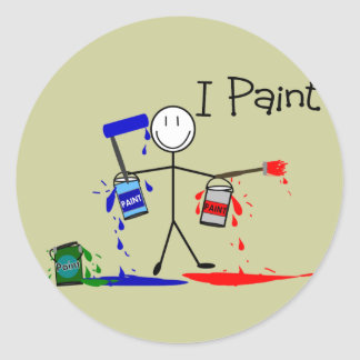 """Painters Gifts  """"I Paint"""" Stick People Design Classic Round Sticker"""