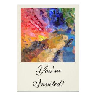 Painter's Palette of Colorful Paints 13 Cm X 18 Cm Invitation Card