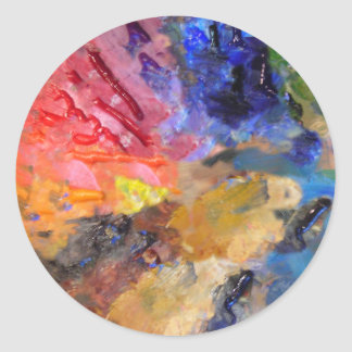 Painter's Palette of Colorful Paints Classic Round Sticker