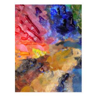 Painter's Palette of Colorful Paints Postcard