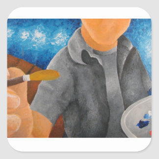 Painter's View Square Sticker