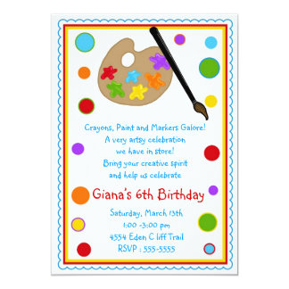 Painting Birthday Party Invitations