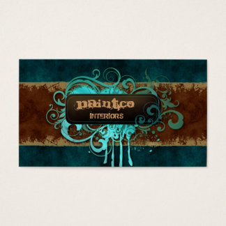 Painting Business Card Suede Blue Swirls