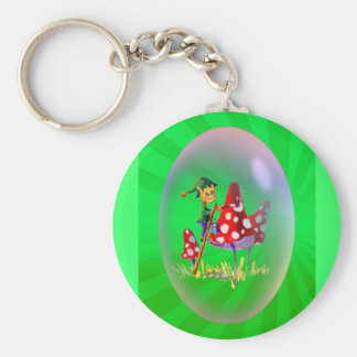 PAINTING ELF & LIGHT RAYS by SHARON SHARPE Basic Round Button Key Ring