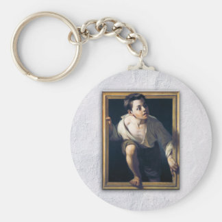 "Painting ""Escaping of critical"" the Art Trompe-l'? Basic Round Button Key Ring"
