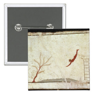 Painting from the Tomb of the Diver from the south 15 Cm Square Badge