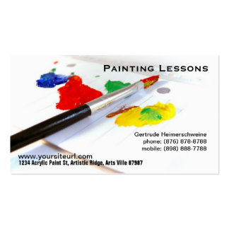 Painting Lessons - Paintbrush on paper palette Business Card