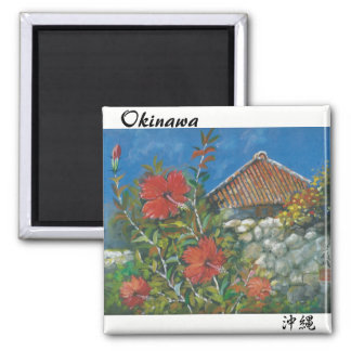 Painting Magnet Hibiscus and Okinawan House
