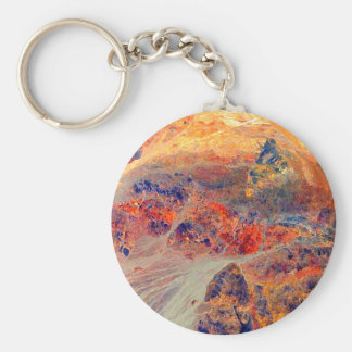 Painting: Mountains & Waterfall: Basic Round Button Key Ring