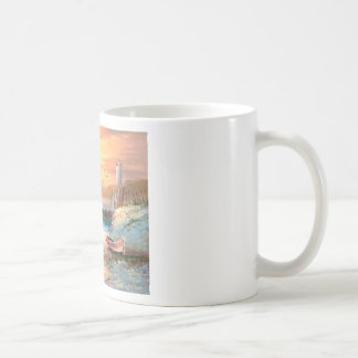 Painting Of A Beached Rowboat Near A Lighthouse Coffee Mugs