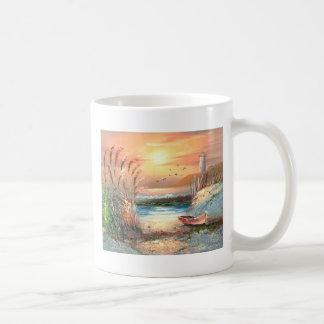 Painting Of A Beached Rowboat Near A Lighthouse Basic White Mug