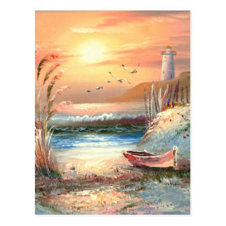 Painting Of A Beached Rowboat Near A Lighthouse Postcard
