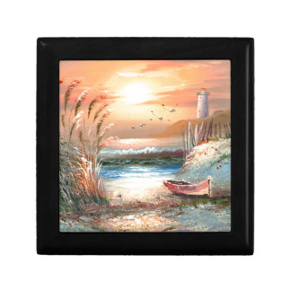 Painting Of A Beached Rowboat Near A Lighthouse Small Square Gift Box