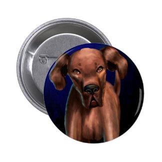 Painting of a Big Brown Dog Looking Directly at Yo Pin