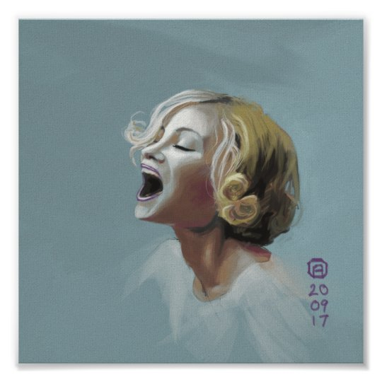 Painting of a Blonde Girl Laughing Poster