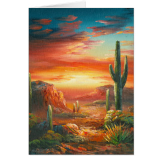 Painting Of A Colorful Desert Sunset Painting Card