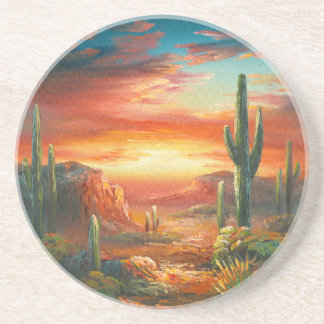 Painting Of A Colorful Desert Sunset Painting Coaster
