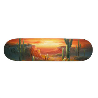 Painting Of A Colorful Desert Sunset Painting Skateboard Decks