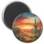 Painting Of A Colourful Desert Sunset Painting 6 Cm Round Magnet