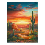 Painting Of A Colourful Desert Sunset Painting Postcard