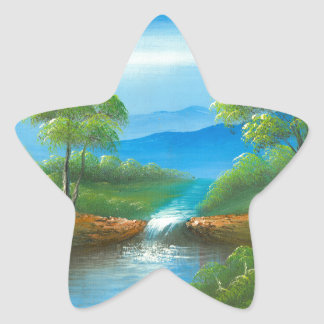 Painting Of A Creek In The Summer Star Sticker