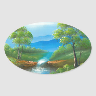 Painting Of A Creek In The Summer Sticker