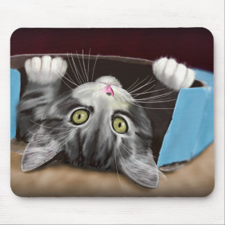 Painting of a Cute Grey Kitten in an Blue Box Mouse Mat