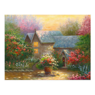 Painting Of A Flowered Country Home Postcard