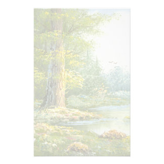 Painting Of A Forest With River Personalized Stationery