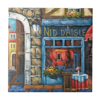 Painting Of A French Restaurant Tile