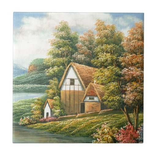 Painting Of A Lakeside Cottage Tile